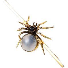 9k Yellow Gold Garnet Antique English Spider Pin