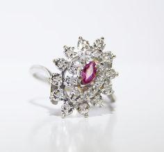 Vintage Pink Topaz & 20 Diamond Burst Ring Set by LadyLibertyGold
