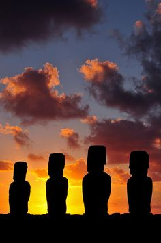Sunrise, Ahu Tongariki, Easter Island, Chile have to go there! Places Around The World, The Places Youll Go, Places To See, Around The Worlds, Islas Cook, Tahiti, Easter Island, World Heritage Sites, Monuments