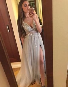 56cd6240b5d473 side slit light grey tulle v-neck beaded long prom dress – BSBRIDAL  #eveningdresses