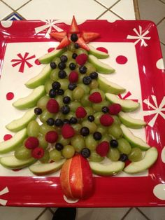 Apples and grapes and a seasonal plate