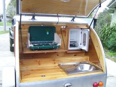 Kitchen ideas.  From Ctcustom teardrop campers FB page.