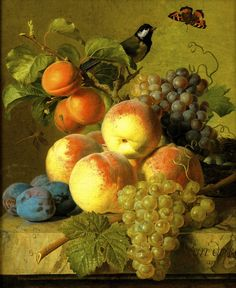 Jan Frans van Dael: Still Life of Peaches, Plums, and Grapes on a Stone Ledge, an VI (1798/99)