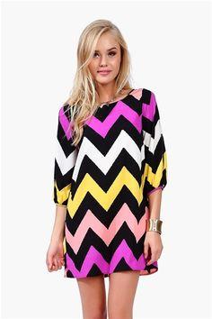 chevron printed dress