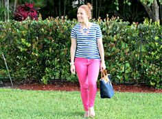 stripes + bright for spring! Color Pants, Girl Guides, Stripes, Bright, Printed, My Style, Spring, Outfits, Fashion