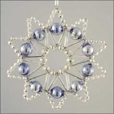 Lace Star Ornament Glass Bead Project Kit ~ Silver and Blue  ~ Czech Republic