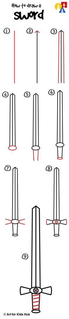 How to draw a sword step by step for young artists!