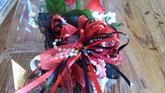 Red Rose wrist corsage with black accent