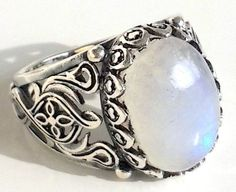 925 STERLING SILVER MEN'S RING WITH TOTALLY HANDMADE  UNIQUE REAL MOONSTONE #Handmade