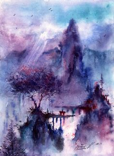 The real eye — the-real-eye-to-see: Watercolor Paintings by. Watercolor Trees, Watercolor Landscape, Abstract Landscape, Watercolor Paintings, Watercolors, Watercolor Canvas, Ghost In The Machine, Great Paintings, Fantasy Landscape