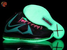 Buy Black Blue Pink Glow in the Dark Sole Nike Lebron X (10) Factory Outlet