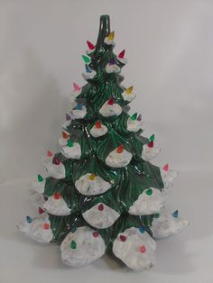 "Atlantic Mold Christmas Tree Ceramic Green White Flocked 16.5"" Xmas…"