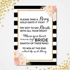 Don't Say Bride Game, Printable Pink Floral, Black and White Stripes Bridal Shower Game- SKUHDG12 by hellodreamstudio on Etsy