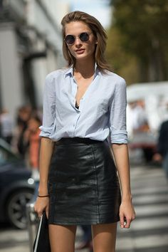 blue shirt | black leather mini skirt