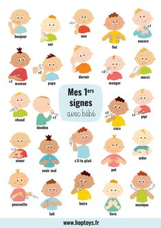 My first signs with baby - Bébé - bebe Diy Toys Newborn, Toddler Toys, Baby Toys, Quilts Vintage, Random Kid, Baby Sign Language, Girl Language, Second Language, Diy Bebe