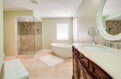 T's house. Love it and the shower. Costco, Corner Bathtub, Alcove, Spaces, Shower, Bathroom, House, Rain Shower Heads, Washroom