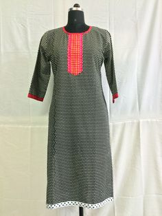 Natural look of half sleeves cotton kurti