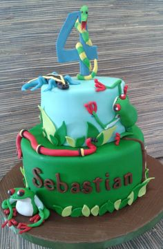 Reptile cake with frogs, lizards and snakes!