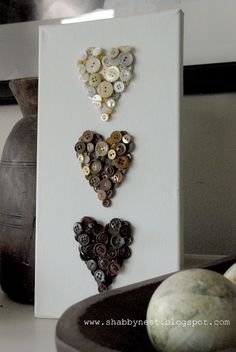 The Shabby Nest: One More Valentine DIY - Ombre Button Hearts~