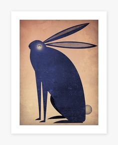 The INDIGO RABBIT Graphic Art Illustration 9x12 by nativevermont, $39.00