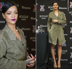 Rihanna promoting Rogue Man at Fort Belvoir in Jason Wu Spring/Summer 2015 belted green suede coat and Christian Louboutin So Kate pumps in Nats