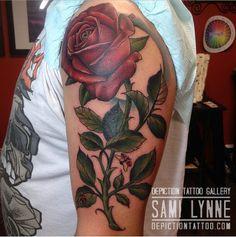 Artist : Samantha Frederick Owner of Depiction Tattoo Gallery in Arlington, TX  #depictiontattoogallery #arlingtontattooshop #ftworthtattooshop #dallastattooshop #dfwtattooshop #tattoos #tattooinspiration #tattooideas #colortattoo #femaletattooer #femaletattooartist #flower #flowertattoo #rose #rosetattoo #armtattoo #upperarmtattoo
