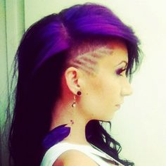 Love the shave design, and the color of course! Gothic Hairstyles, Undercut Hairstyles, Ballerina, Natural Hair Styles, Short Hair Styles, Shaved Hair Designs, Hair Tattoos, Purple Hair, Hair Dos
