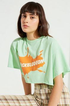 df318b8902 JUNK FOOD Short Sleeve Nickelodeon Cropped Printed Top Tee Shirt Green M   45  JunkFood