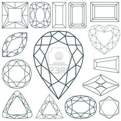 stone shapes  Stock Photo - 7261398 Gem Drawing, Line Drawing, Crystal Drawing, Jewel Tattoo, Jewelry Design Drawing, Jewelry Illustration, Art Tutorials, Art Lessons, Vector Art