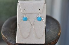 Sterling Silver Thin Hoops with Turquoise and Sterling Silver Chain earring 2 Inche hoop size, 14k gold filled hoop, geometric jewelry by JewelrybyXinyiMartin on Etsy