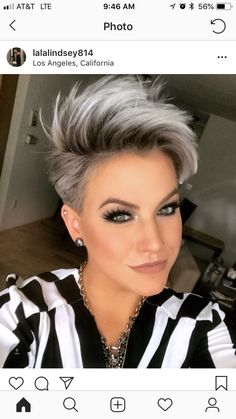 New hair color grey blonde pixie cuts 34 Ideas Short Grey Hair, Short Hair Cuts For Women, Grey Short Hair Styles, Short Silver Hair, Short Hair With Undercut, Short Pixie Cuts, Black Hair, Long Hair, Shaggy Pixie