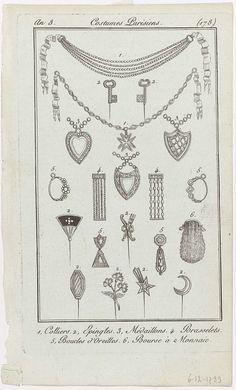 Journal des Dames et des Modes, Costume Parisien, 6 décembre 1799, An 8, (178) : 1, Colliers.2, Epingles..., anonymous, 1799