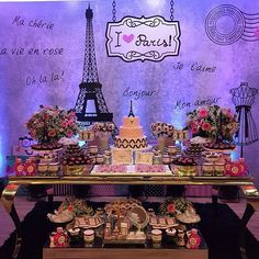 Paris Themed Birthday Party, Paris Party, Birthday Party Themes, Paris Bridal Shower, Paris Baby Shower, Sweet 16 Party Themes, Eiffel Tower Cake, Paris Sweet 16, Cool Themes