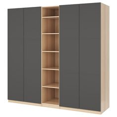 IKEA - PAX Wardrobe white stained oak effect, Meråker dark gray Ikea Wardrobe Hack, Ikea Pax Hack, Ikea Pax Closet, Wardrobe Doors, Ikea Pax Doors, Pax Planer, Tall Cabinet Storage, Locker Storage, Armoire Ikea
