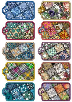 .Patchwork Patterns..Scrapbooking Tags on a Digital Collage Sheet.. TO ORDER PRINTS ON CD CLICK HERE