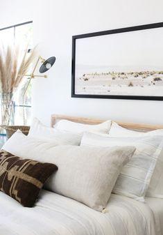 Evergreen House: Master Bedroom Reveal - Juniper Home Bedroom Furniture, Bedroom Decor, Bedroom Inspo, Calm Bedroom, Bedroom Ideas, Serene Bedroom, Bed Ideas, Bedroom Art Above Bed, Brown Bed Linen