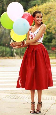 THAT SKIRT!!! Red A-line Midi Skirt