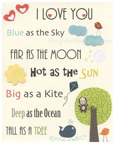 Baby room, nursery wall art, Nursery Decor Children Room, i love you, monkey, tree, safari nursery, jungle friends, green, blue, yellow, red on Etsy, $17.00