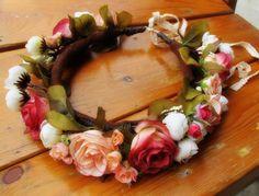 Orange Peach Pink White Mixture Flowers Crown - Bridal Hair Accessories, Angel Headband, Flower Girl Hair Wreath, Weddings, Wedding Hairband