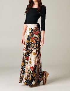 MAXI DRESS LONG FULL LENGTH 3/4 SLEEVE SPRING / SUMMER 2014 BOUTIQUE TREND