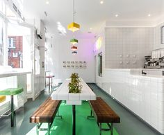 Wilson Holloway were approached by healthy food evangelists SHOT to develop an experimental interior for their first cafe in St. Paul's, London. Cool Restaurant, Restaurant Design, Restaurant Interiors, Health Food Restaurants, One Cafe, London Cafe, Architecture Magazines, Wallpaper Magazine, Super Healthy Recipes