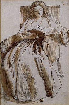Elizabeth Siddal reading by Rossetti, pen an ink sketch