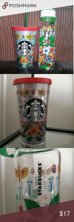 NWT| Starbucks Insulated Floral Tumblr & Travel Bo NEW! Set of Beautiful floral, butterfly, and bird design on a insulated Tumblr and same design on travel water bottle.  Great set! If you want to buy separate let me know. Other