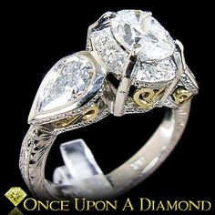 Platinum & 18K Gold 2.16ctw Oval and Pear by OnceUponADiamond, $8795.00