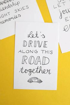 Print your own free road trip handlettering printables with Luloveshandmade and Volkswagen to prettily decorate your home or to send away happy mail.
