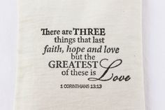 Faith Hope Love Lavender Sachet Inspirational Scented Mini Pillow 1 Corinthians Christian Wedding. $10.00, via Etsy.