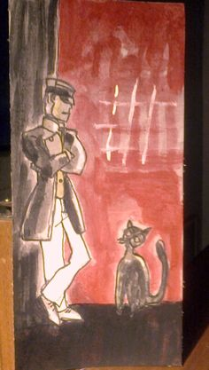 el Corto Maltes, personaje de Hugo Pratt charlando con uno de mis gatos. Pronto lo vamos a ver en Venecia rodeado de gatos.
