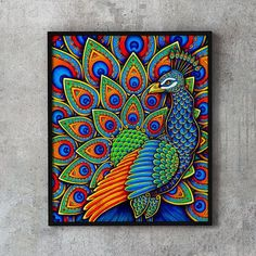 Beautiful Colorful Paisley Peacock drawing by Rebecca Wang. Available as a fine art print, home decor products, and other gift ideas! Peacock Drawing, Peacock Painting, Dot Art Painting, Mandala Painting, Mandala Art, Peacock Artwork, Madhubani Art, Madhubani Painting, Art Prints For Home