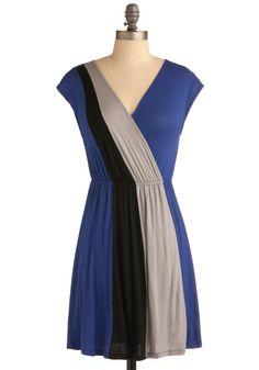 Floridian Flirtation Dress - Blue, Black, Grey, Color Block, Casual, A-line, Cap Sleeves, Spring, Summer, Short