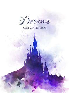 Disneyland Castle Quote ART PRINT Paris, Nursery, Gift, Wall Art, Home Decor, Inspirational, Disney, Gift Ideas, Birthday, Christmas, Dreams can come true